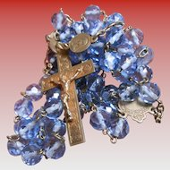 Vintage Faceted Blue Crystal Beaded Rosary with Ave Marie Heart Center and 6 Extra Medals from France