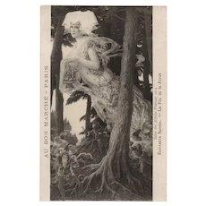 Medieval Forest Fairy and Gnomes Painted by Elisabeth Sonrel Rare Salon de 1912 Paris French Postcard