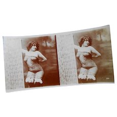 Risque Antique French Nude in Sexy Lingerie Photostrip with Two Exposures Possibly Jean Agélou's Fernande