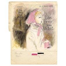 German Jewish Author H.J. Kaeser Printer's Proof of Novel Front Cover Circa 1962