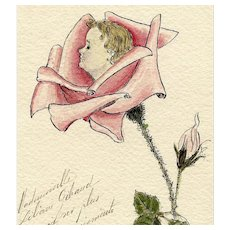 LAST CHANCE Original Hand-painted Baby in a Rose Antique French Postcard with Tram Ticket Attached Verso