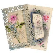 Two Antique French Rose Postcards: Paper Lace, Ribbon, Hand-Painted