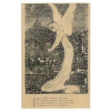 Christmas Angel Holding a Heart Pen and Ink Antique French Postcard Artist Signed