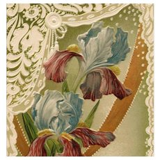 Antique French Friendship Souvenir Postcard of Irises Richly Embossed