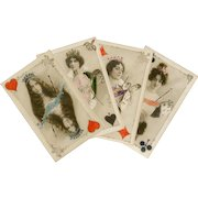 Belle Epoque Celebrities Collaged as Playing Card Queens 4 Handpainted Antique French Postcards
