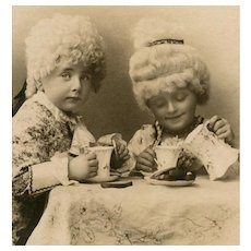 Two Children Dressed in White Wigs as Marquis Couple Having Tea Antique European Postcard