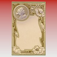 Art Nouveau Artist Signed Embossed Gold Metallic Detailing Floral Bordered Ephemera