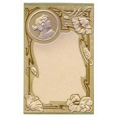 Art Nouveau Artist Signed Embossed Gold Metallic Detailing Floral Bordered Ephemera