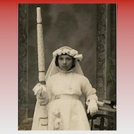 Antique First Communion Real Photo French Postcard Girl with Huge Candle