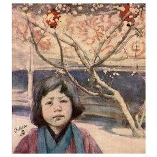 Fair Japan Tuck's Postcard Child in Plum Kimono by Mortimer Menpes