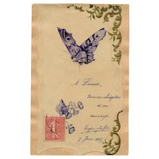 Eugène Sieffert Hand-made French Postcard Pen and Ink Butterfly and Morning Glories Dated 1907 - Red Tag Sale Item