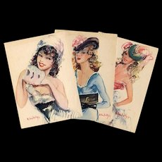 "Trio of 1950s ""Parisienne"" Fashion Series Postcards by Vincente Cristellys"