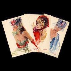 "c1950s Three ""Parisienne"" Fashion Postcards by Vincente Cristellys"