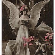 Angels and Supplicant Sculptochrome Handpainted Pink Flowers Antique French Postcard