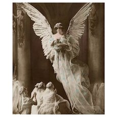 Souvenir of First Communion Angel and Supplicants Sculptochrome Postcard - Red Tag Sale Item