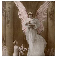 First Communion Souvenir for a Boy Sculptochrome Montage Angel Handpainted French Postcard