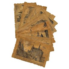 9 Die-Cut Postcards with Pen and Ink Drawings of Old Paris in 16th and 17th Century Unused - Red Tag Sale Item