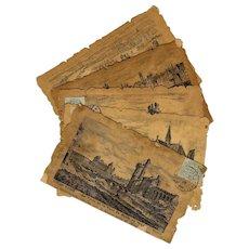 5 Die-Cut Postcards with Pen and Ink Drawings of Old Paris - Red Tag Sale Item