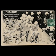 Halley's Comet End of the World Humorous 1910 French Postcard