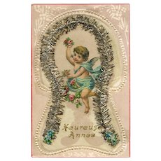 Victorian Die-Cut of Angel Cherub Surrounded by Silver Christmas Garland 1909 European Novelty Postcard