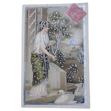 Grecian Woman Feeding Swans Silver Embossed 1905 French Postcard
