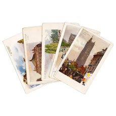 Circa 1903 Five Antique Paris Postcards Unused Undivided Back Iconic Tourist Sites