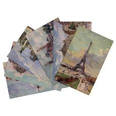 6 Vintage Paris France Postcards: Eiffel Tower, Trocadero, Bastille and More