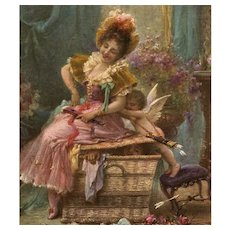 Cupid Pushing Lady off Huge Basket Zatzka French Art Postcard from Polish Count's Collection - Red Tag Sale Item