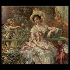 1908 Artist Signed Zatzka Cupid Postcard from Count's Collection Paris France