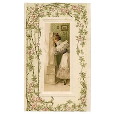 Antique French Ephemera Card Embossed Blossoms and Vine Frame Pretty Lady at Clock