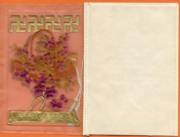 Vintage French New Years Greeting Card With Four Hindu Good Luck