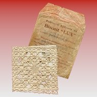 French Embroidery and Lace Advertising Sample from Olibet Lux Biscuits Four Inch Square