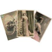 Three Belle Epoque Celebrities in Pink Hand Painted Antique Photo Postcards c1905