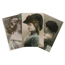 LAST CHANCE: Trio of Belle Epoque Actresses Antique French Photo Postcards Painted by Hand