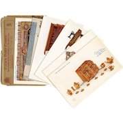 Tuck's Postcard Series Set Four Queen's Dolls' House Carpet Gold Chest Sewing Machine Fireplace