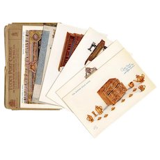 LAST CHANCE: Tuck's Postcard Series Set Four Queen's Dolls' House Carpet Gold Chest Sewing Machine Fireplace