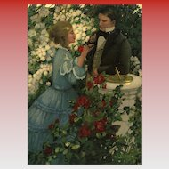 Anna Whelan Betts In the Rose Garden 1908 Art Reproduction Postcard from Polish Count's Collection