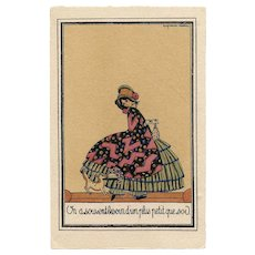 Art Deco Postcard of French Book Illustrator Elsie Denise Millon Lady in Victorian Bustle with Puppy