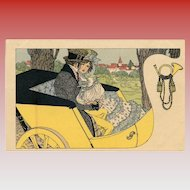 Lithograph M.M. Vienne Unused Carte Postale Victorian Couple in Yellow Carriage