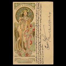 Alphonse Mucha Art Nouveau Champagne Advertisement Color Lithograph Postcard with Gold Metallic Pigment