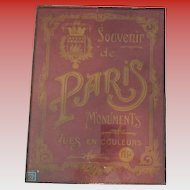 Art Nouveau Gold and Maroon Double Glass Paris Souvenir Wall Hanging Book Cover with Eiffel Tower Verso
