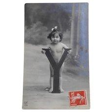 Antique French Real Photo Postcard Enfant Girl Standing in Front of Huge Letter Y