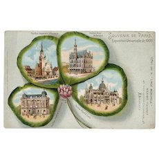 Four Leaf Clover Design of Paris 1900 Expo Pavillions Unused French Postcard