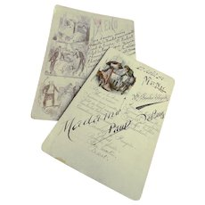 Two Illustrated French Menus Hand Written Calligraphy 1892 and 1920