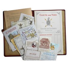 Unused Bordeaux Xavier de Lestapis Wine Menu with French Wine List and Vintage Labels
