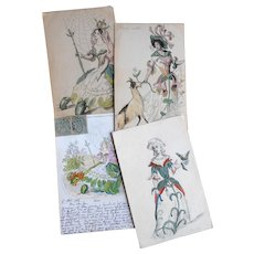 Antique Grandville French Postcard and Three Grandville Character Watercolors Goat Beetles and Rose
