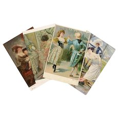Four Antique Art Postcards Rubens, Salon de Paris c. 1905