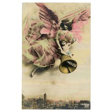 Hand-Painted Easter Angel Mastroianni Bas Relief Sculpture  French Postcard