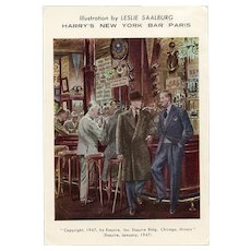 Retro 1967 French Postcard Harry's New York Bar in Paris Sank Roo Doe Noo