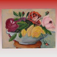 Retro French Military Issued Postcard Hand-Painted Gouache Floral Still Life